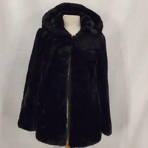 Zara faux fur short coat hooded long sleeves vegan